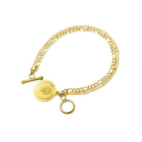 Bracelet en acier titane multicouche à tête de pièce de monnaie rétro à la mode NHOK258165's discount tags