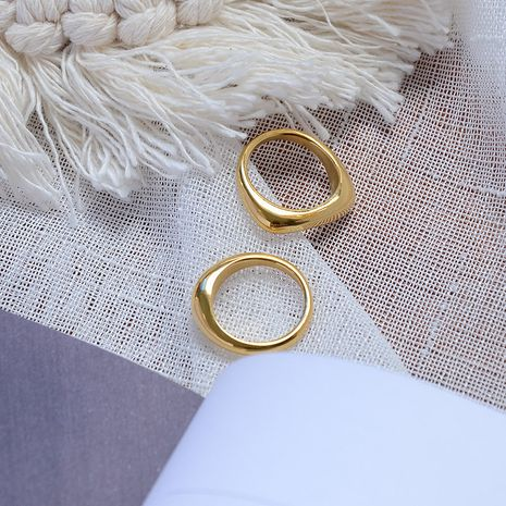 all-match minimalist irregular stacking ring titanium steel plated  ring wholesale NHOK258157's discount tags