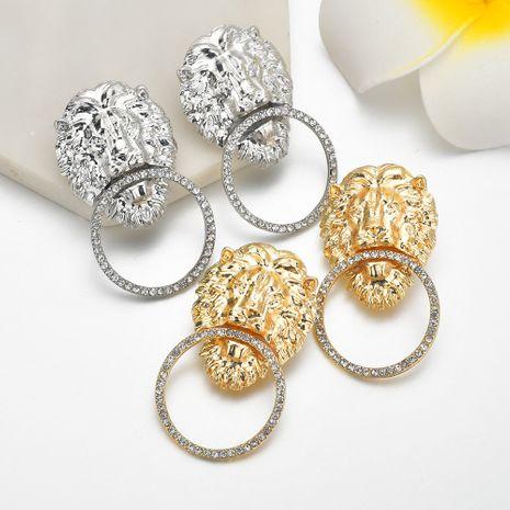 Boucles d'oreilles de personnalité de style rétro géométrique tête de lion exagérée pour femmes NHBQ258376's discount tags