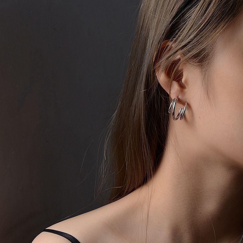 minimalist style fashion multi-layer C-shaped titanium steel hypoallergenic earrings wholesale NHOK258160
