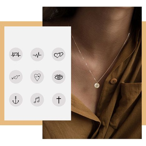 new lettering simple stainless steel geometric round pendant rose gold necklace NHTF257936's discount tags
