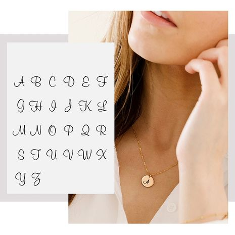 Korean new simple fashionable short 316L titanium steel engraved letter pendant gold-plated necklace NHTF257948's discount tags