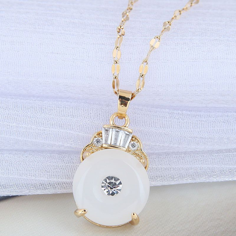 Korean fashion  simple jade personality necklace for women NHSC258366