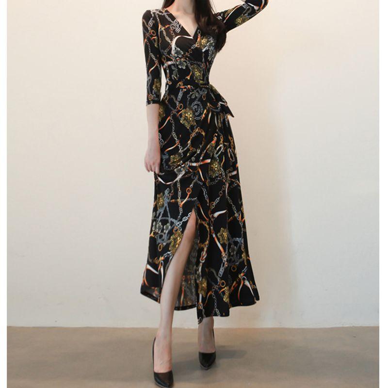 new fashion   Vneck retro laceup waist printed dress NHJG258351