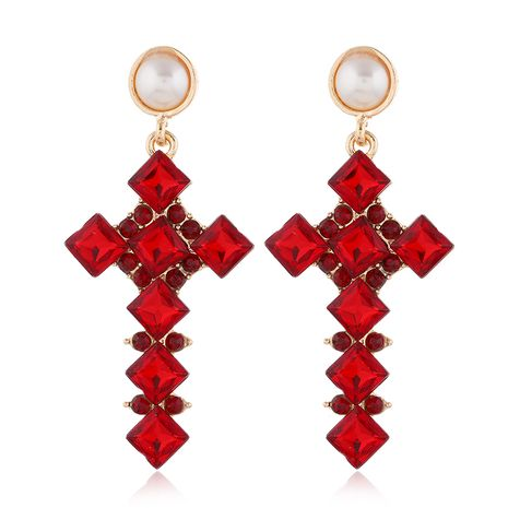 fashion metal bright gemstone cross exaggerated  earrings NHSC258923's discount tags