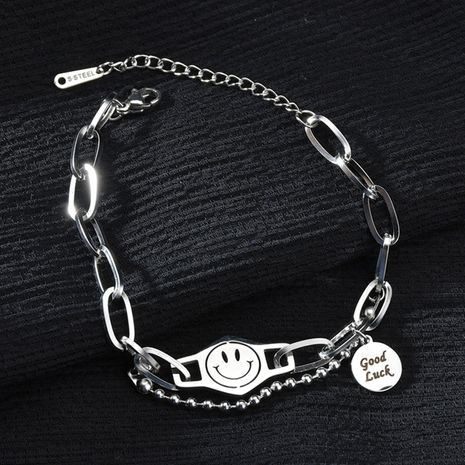 Fashion smiley face hip hop style trendy goodluck letter thick chain titanium steel bracelet NHHF258402's discount tags