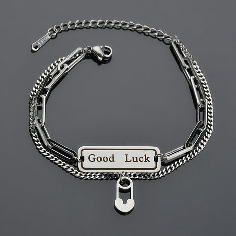 Korea Letter Pin Buckle Double Simple Lucky Trendy  titanium steel Bracelet  NHHF258403's discount tags