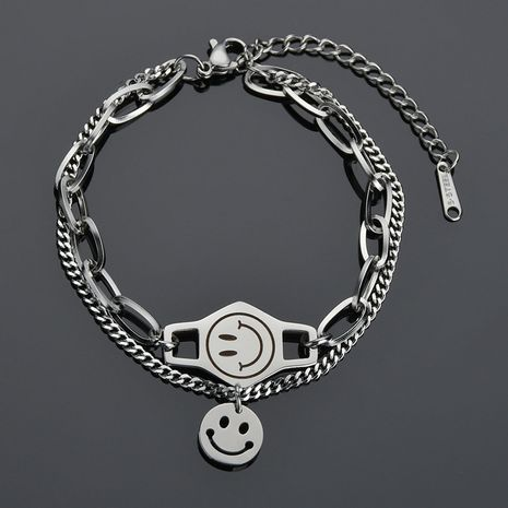 Fashion smiley face round  retro stitching chain wild double-layer stainless steel bracelet for women NHHF258404's discount tags