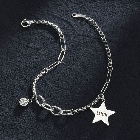 five-pointed star  fashion retro letter simple titanium steel bracelet  NHHF258407's discount tags