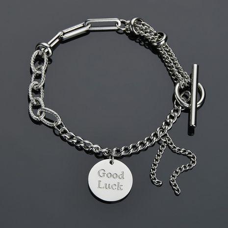 retro round Korean OT buckle letter stitching chain titanium steel tassel bracelet  NHHF258409's discount tags