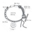 retro round Korean OT buckle letter stitching chain titanium steel tassel bracelet  NHHF258409