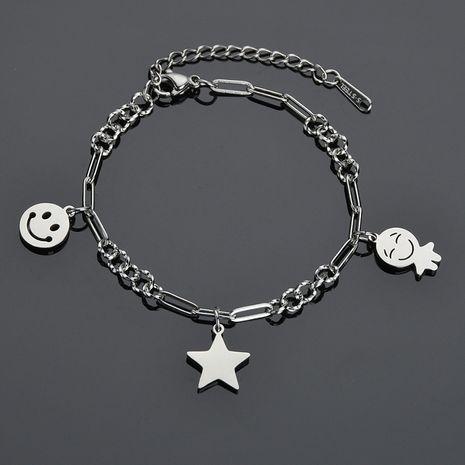 retro star  Korean fashion retro smiling face round  titanium steel  bracelet  NHHF258410's discount tags