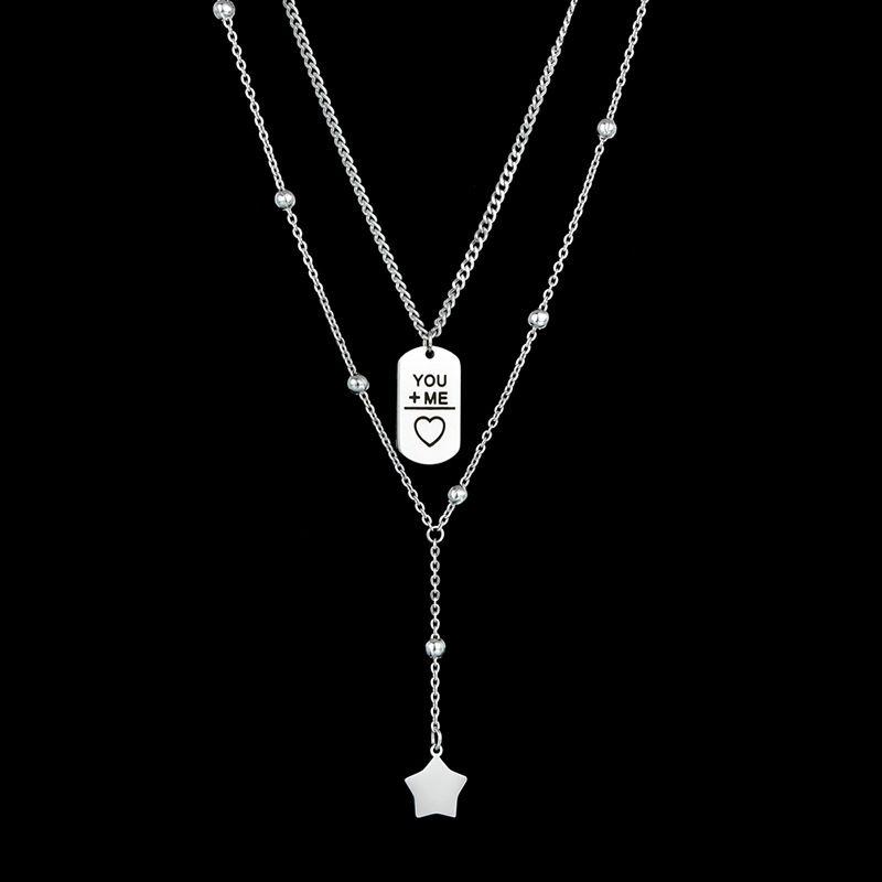 Hot selling fashion punk geometric couple necklace wholesale NHHF258412