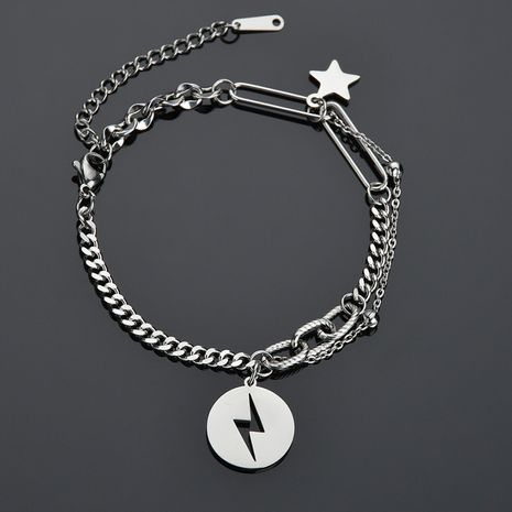 hip-hop five-pointed star niche retro stainless steel round  pendant bracelet  NHHF258417's discount tags