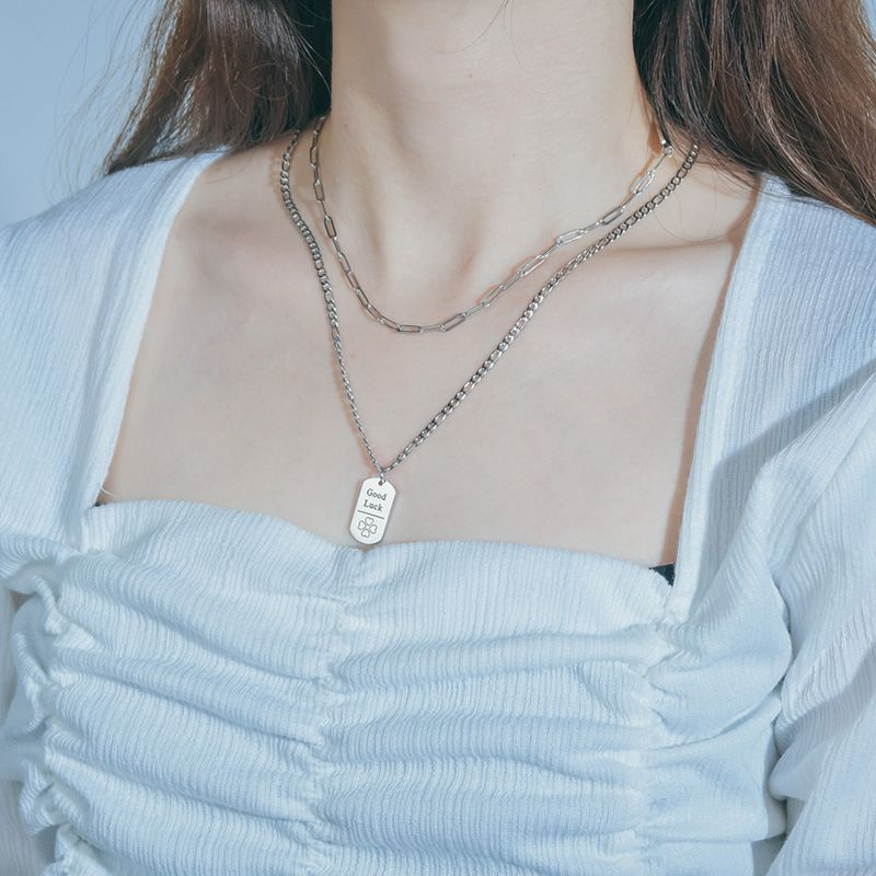 Hot selling fashion square double-layer tide titanium steel necklace  NHHF258421