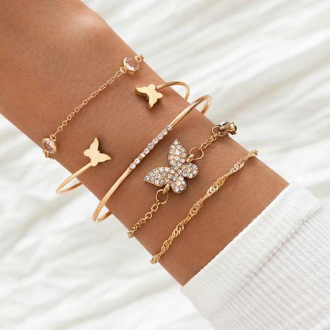 Nuevo estilo bohemio elegante, dos mariposas, pulsera de mariposa con diamantes de imitación abiertos, juego de 5 piezas NHLL258455's discount tags