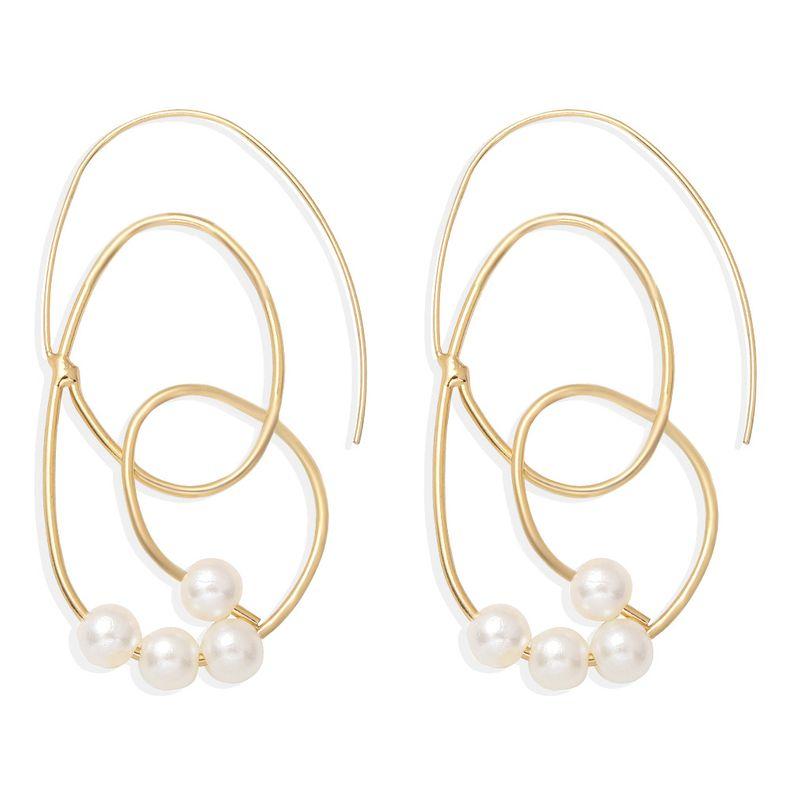 Korean fashion girl heart pearl simple alloy circle geometric shape earrings wholesale  NHJQ258466