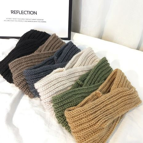 wool pure color hand-knit wide-sided cross headband wholesale NHOF258498's discount tags
