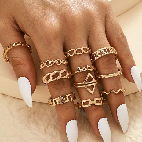 Bohemian heart-shaped letter chain arrow carved hollow love 11 piece rings set wholesale NHGY258513's discount tags