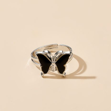 punk butterfly ring single sense color joint ring jewelry wholesale NHGY258517's discount tags