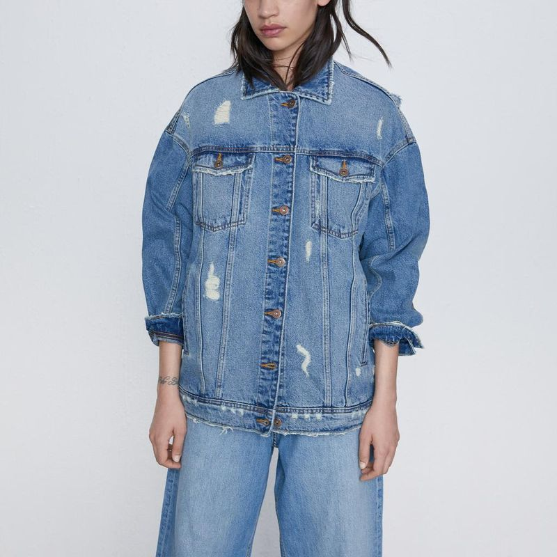 women's fall hole decoration loose denim jacket jacket wholesale NHAM258586