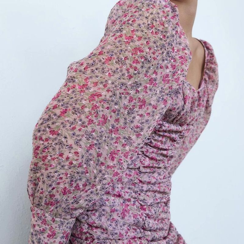 Hot selling fashion autumn print pleated long sleeve dress wholesale NHAM258634