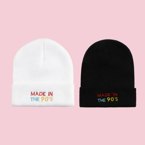 Hot selling knitted hats embroidery fashion wild woolen caps pure color hats NHTQ258741's discount tags