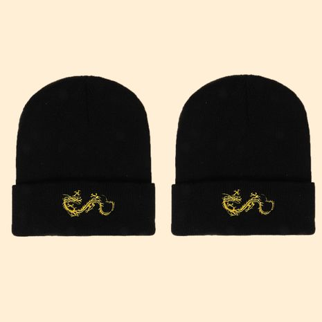 Hot selling fashion dragon embroidery knitted hat factory wholesale NHTQ258755's discount tags