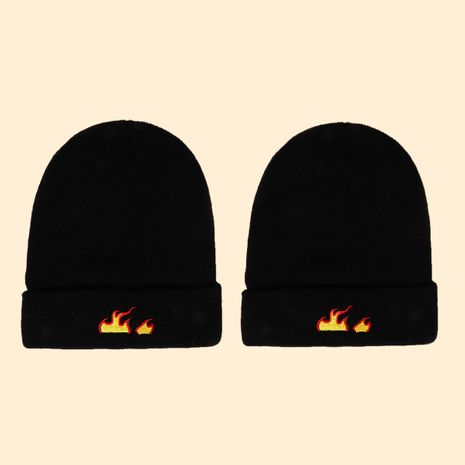 Hot selling fashion embroidered flame knit hat wholesale NHTQ258764's discount tags