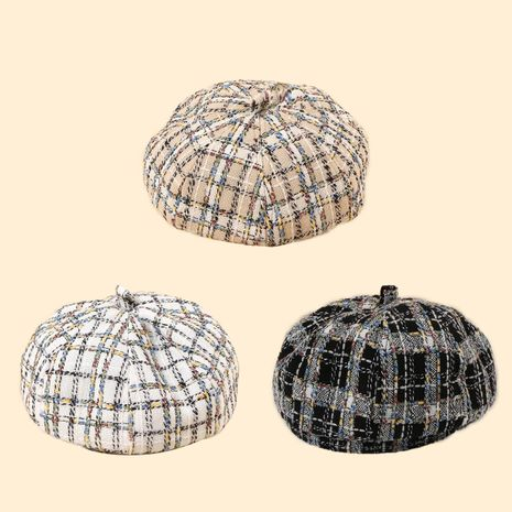 Hot selling fashion new color line houndstooth check beret  NHTQ258782's discount tags