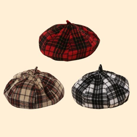 Boina octagonal del todo-fósforo de la moda de las mujeres de lana de la tela escocesa retra vendedora caliente de la moda NHTQ258784's discount tags