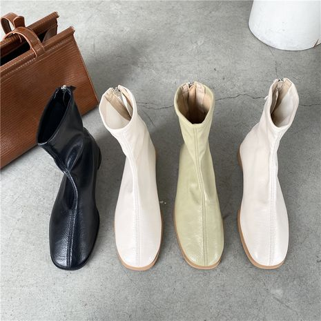 new thin boots flat with soft leather wild Korean short back zipper single boots for women NHCA258813's discount tags