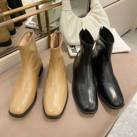 new retro short women's square head low-heel side zipper leather Korean all-match flat and naked boots NHCA258815's discount tags