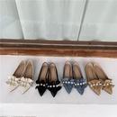 Fall new sweet pointed flat heel ruffled pearl single shoes wholesale NHCA258816