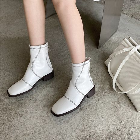 Thick heel thin short boots women's new Chelsea boots mid-high heel Martin boots  NHCA258818's discount tags