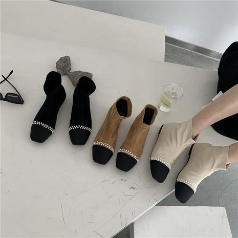 Hot selling stitching thick-heeled stretch stocking women's wild thick-heeled Martin boots NHCA258822's discount tags