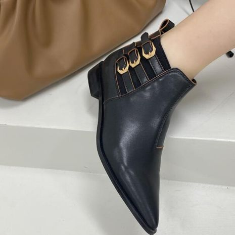 Pure leather  new single white fashion leather thick heel pointed short leather black short boots for women  NHCA258824's discount tags