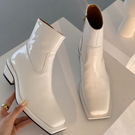 Hot selling fashion square toe sky blue British style short boots women NHCA258832's discount tags