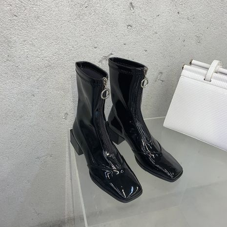 Hot selling fashion patent leather square toe front zipper mid-tube Martin boots NHCA258835's discount tags