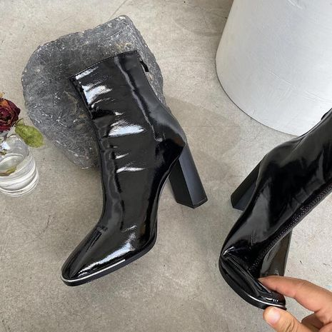 Hot selling fashion elastic boots patent leather mid-tube boots wholesale NHCA258836's discount tags