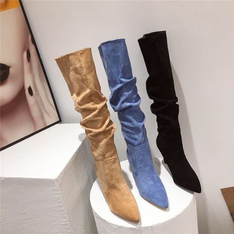Hot selling Pointed high heels metal stiletto over the knee boots NHCA258838's discount tags