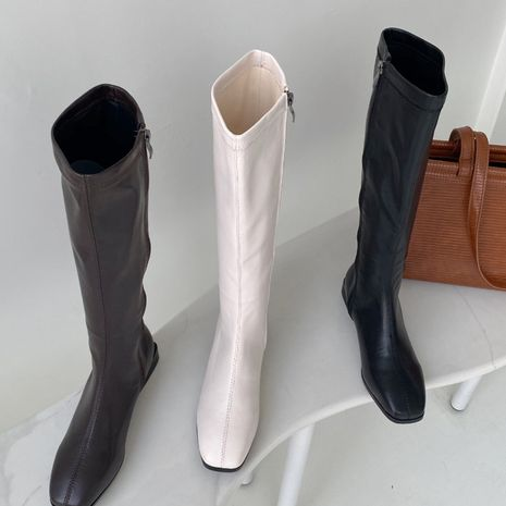 Hot selling fashion elastic thin boots side zipper thick heel square-toed boots wholesale NHCA258841's discount tags