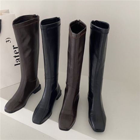Hot selling Black boots women's knee boots flat-bottomed boots wholesale NHCA258842's discount tags