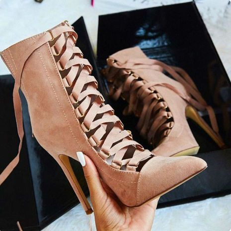 Hot selling fashion cross strap oxford cloth stiletto Martin boots wholesale NHCA258847's discount tags
