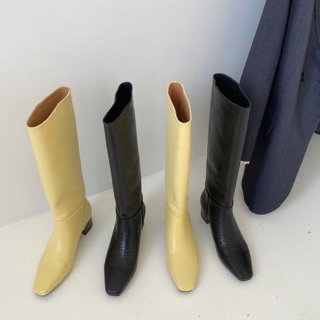 Hot selling fashion square toe thick heel straight boots wholesale NHCA258848's discount tags