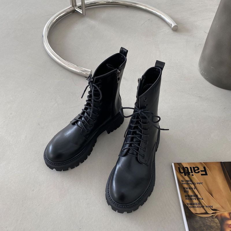 new round head lace-up waterproof platform women's thick-soled mid-heel motorcycle short knight Martin boots NHCA258854