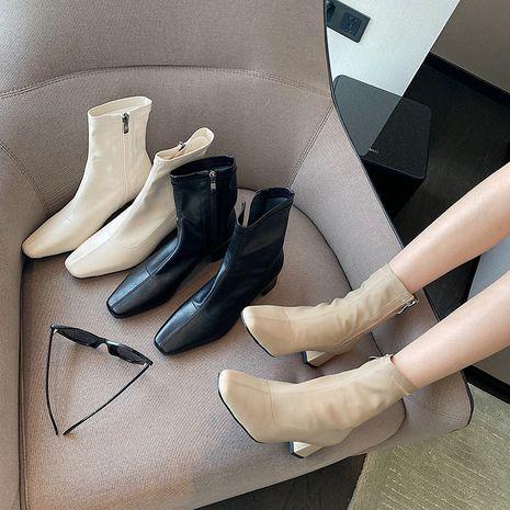 Thick heel fashion women's new single wild square toe retro high heels mid-tube Martin boots NHCA258855's discount tags