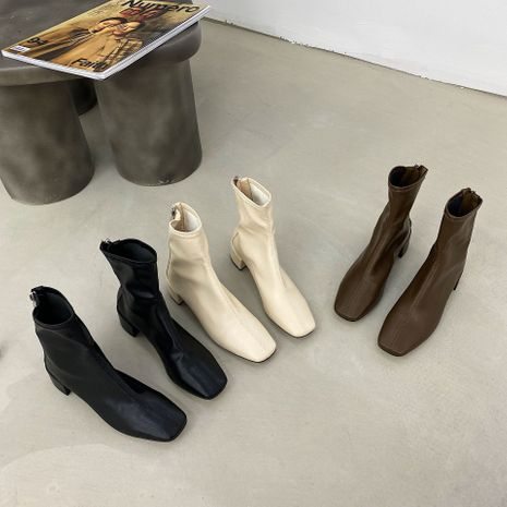 new thin boots thick heels short tube all-match small square toe short boots for women NHCA258856's discount tags