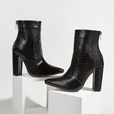 Hot selling fashion Martin boots crocodile pattern thick heel high heel ankle boots wholesale NHCA258858's discount tags