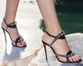 metal pearl diamond sandals buckle high heel womens shoes open toe sexy stiletto banquet shoes  NHCA258861